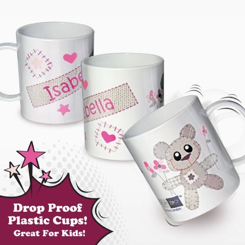 Personalised Cotton Zoo Tweed the Bear Girls Plastic Cup
